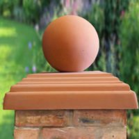 Terracotta-12 inch Ball(shown with 20inch stepped flat pier cap)
