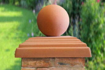 Terracotta 12 inch Ball(shown with 20 inch stepped flat pier cap)