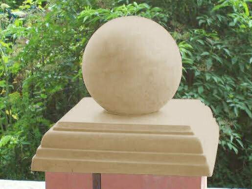 Sandstone 15 inch Stepped Flat Pier Cap with a 9 inch Ball